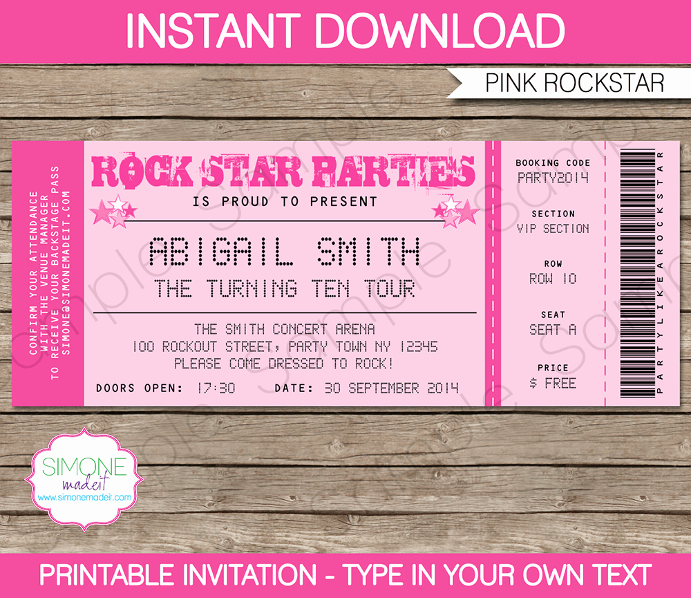 Free Concert Ticket Template New Concert Ticket Invitation Templates