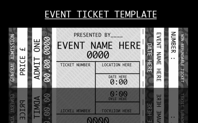 Free Concert Ticket Template Unique Modern Admission Ticket Template Design In Monochrome with