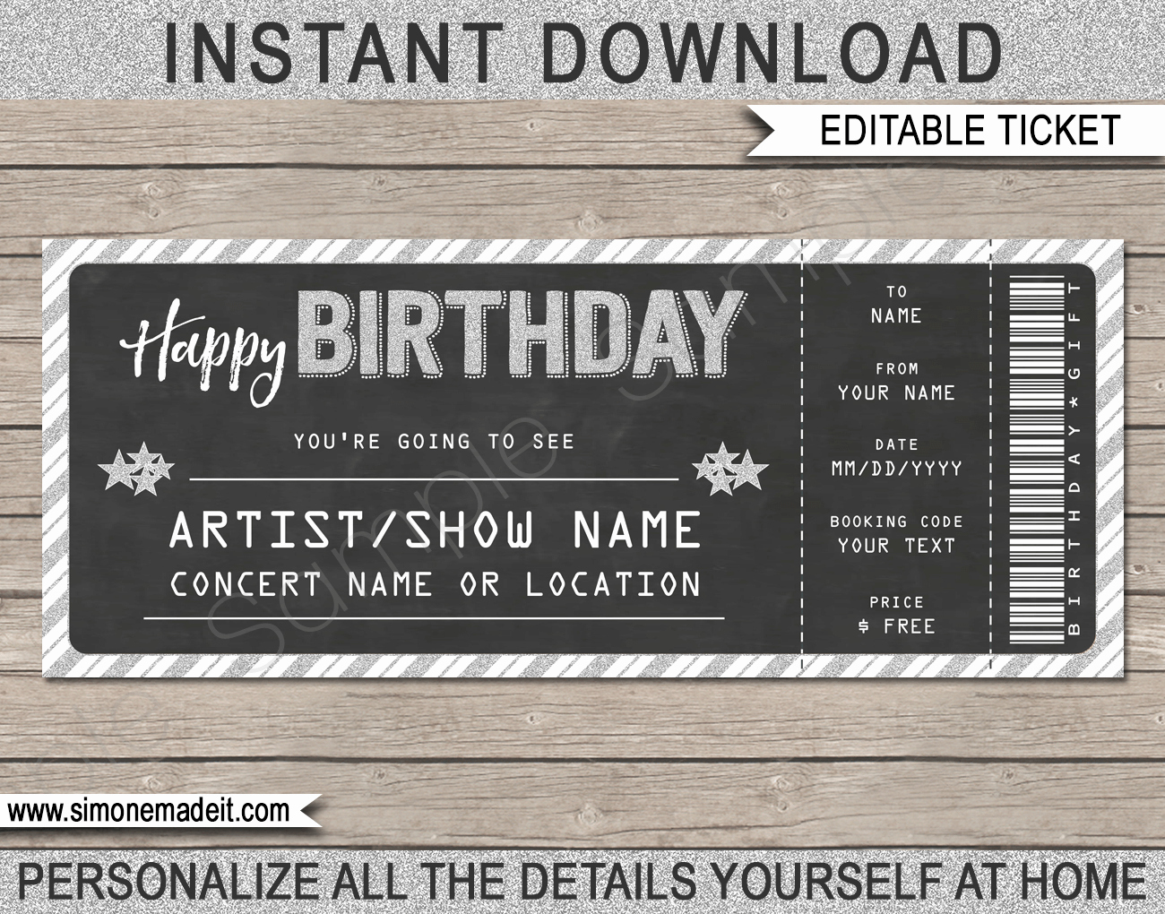 Free Concert Tickets Template Awesome Concert Gift Tickets Template