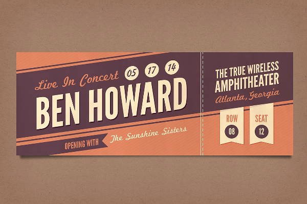 Free Concert Tickets Template Beautiful 12 Vintage Ticket Templates Psd Ai Word