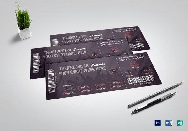 Free Concert Tickets Template Elegant 53 Printable Ticket Templates Psd Ai Word