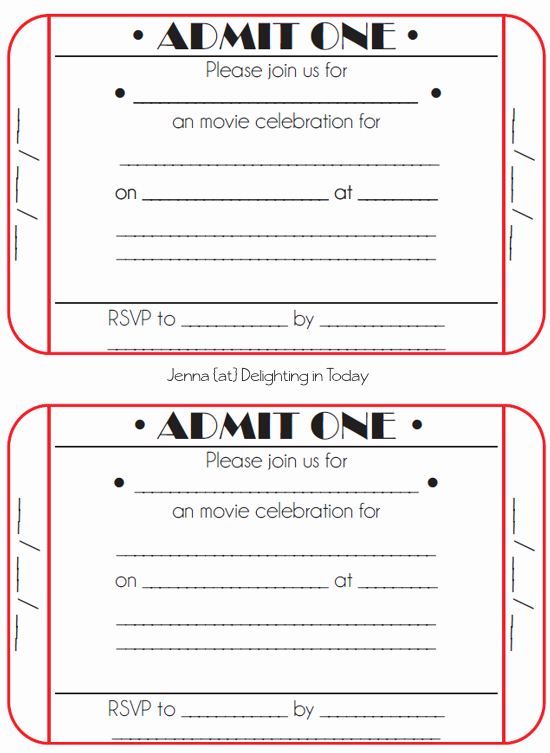 Free Concert Tickets Template Unique Movie Ticket Birthday Invitations Free Printable