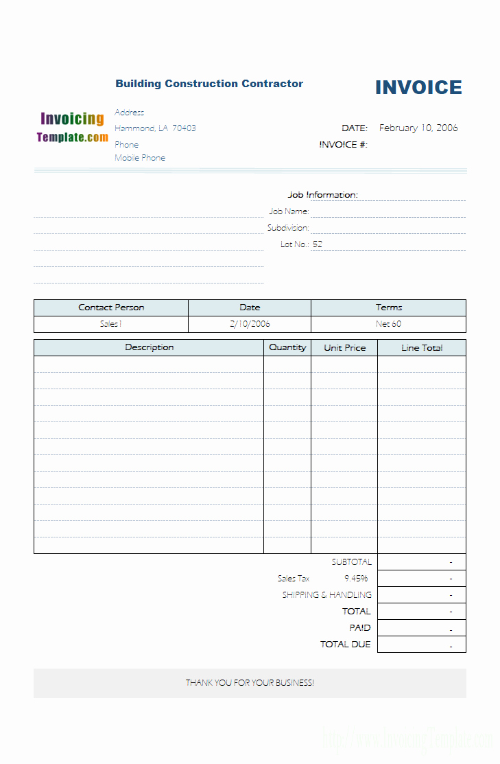 Free Construction Invoice Template Fresh Contractor Invoice Templates Free 20 Results Found