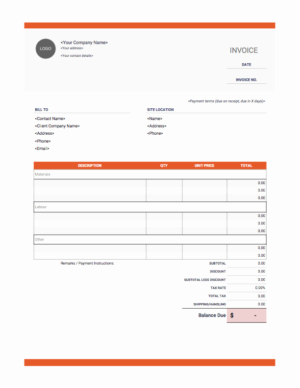 Free Construction Invoice Template Fresh Contractor Invoices Onlineblueprintprinting