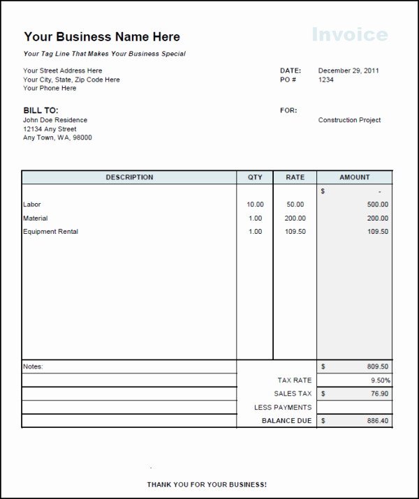 Free Construction Invoice Template Inspirational Contractor Invoice Template