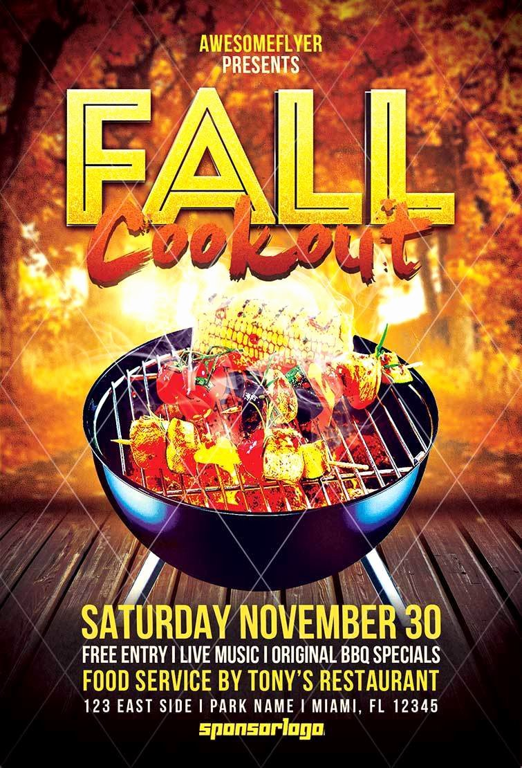 Free Cookout Flyer Template Awesome Fall Cookout Flyer Template