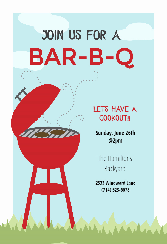Free Cookout Flyer Template Elegant Bbq Cookout Free Bbq Party Invitation Template