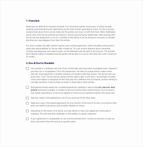 Free Custody Agreement Template Awesome 10 Custody Agreement Templates – Free Sample Example