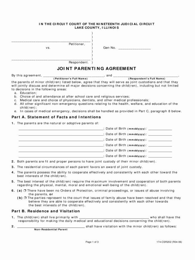 Free Custody Agreement Template Elegant Joint Custody Agreement
