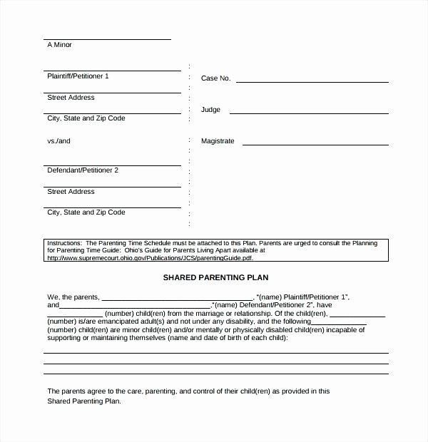 Free Custody Agreement Template Elegant Shared Parenting Plan Template