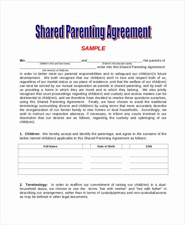 Free Custody Agreement Template Fresh Parenting Agreement Templates 8 Free Pdf Documents