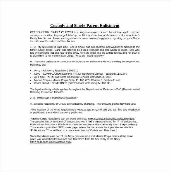 Free Custody Agreement Template Inspirational 10 Custody Agreement Templates – Free Sample Example