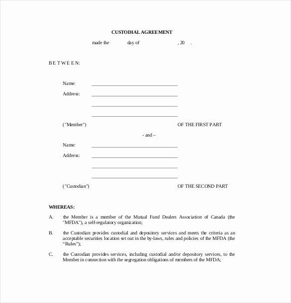 Free Custody Agreement Template Lovely 10 Custody Agreement Templates – Free Sample Example