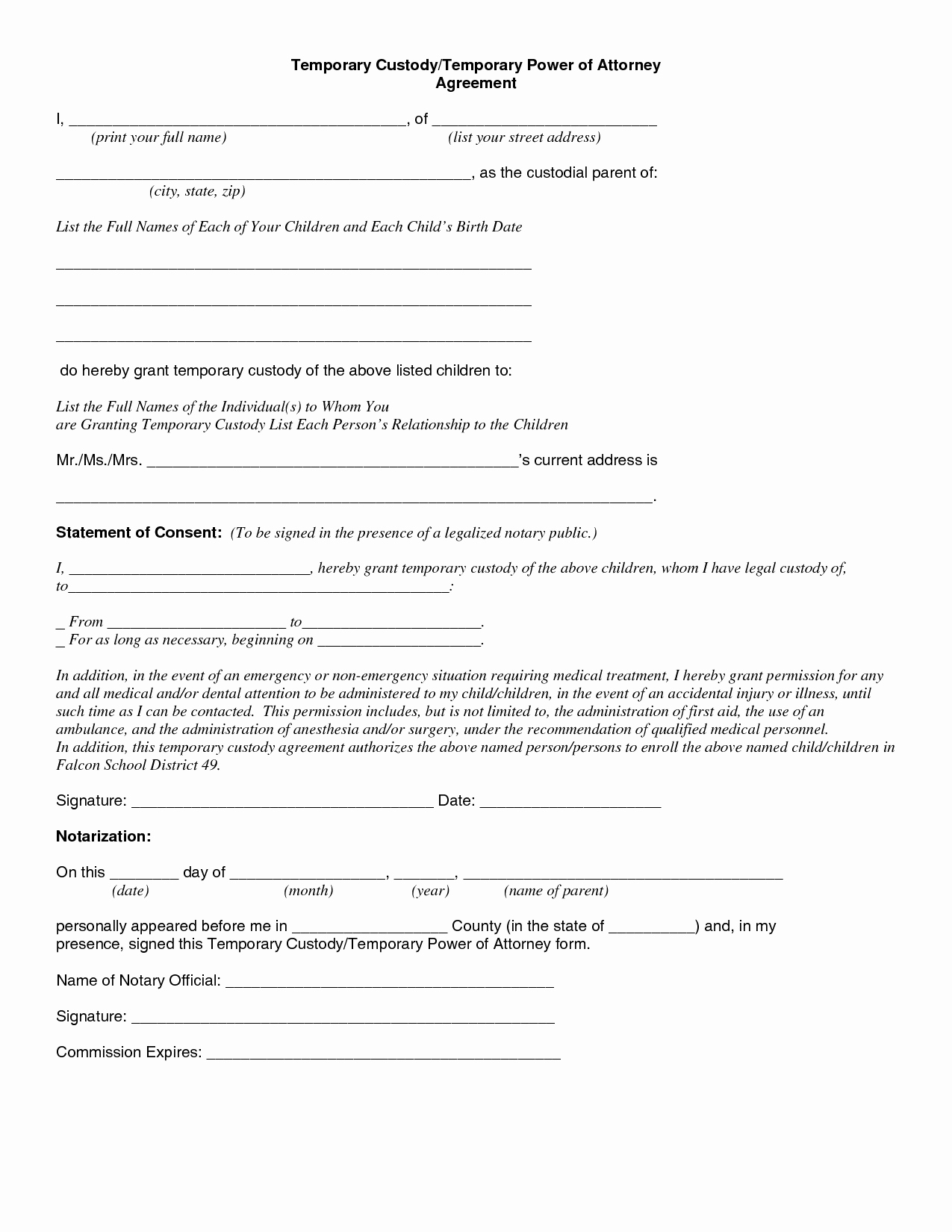 Free Custody Agreement Template Lovely Best S Of Temporary Guardianship form Florida Free