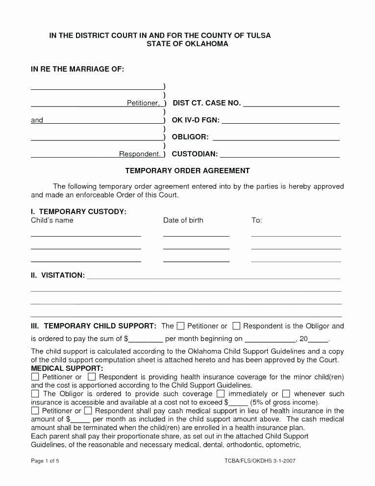 Free Custody Agreement Template Lovely Temporary Custody Template Custody Temporary Custody