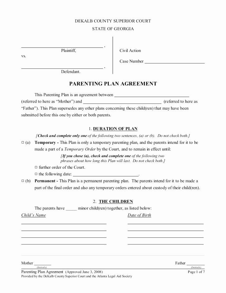 Free Custody Agreement Template Luxury Custody Agreement Template Pa Best Free Printable forms