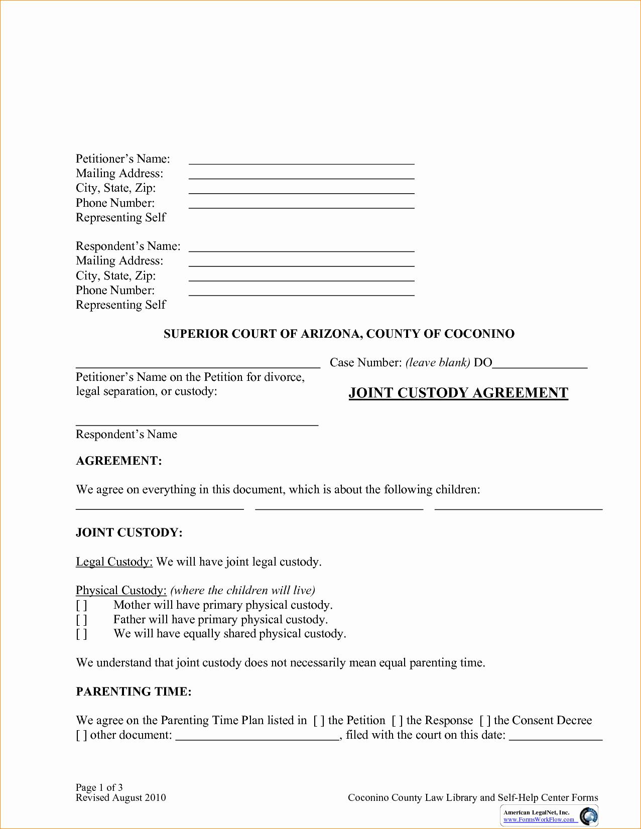 Free Custody Agreement Template Unique Custody Agreement Template