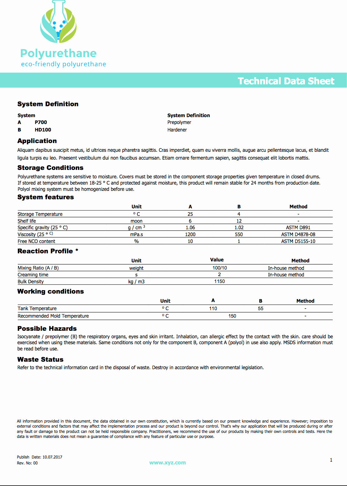 Free Data Sheet Template New Free Data Sheet Templates for Polyurethane Tdsmaker