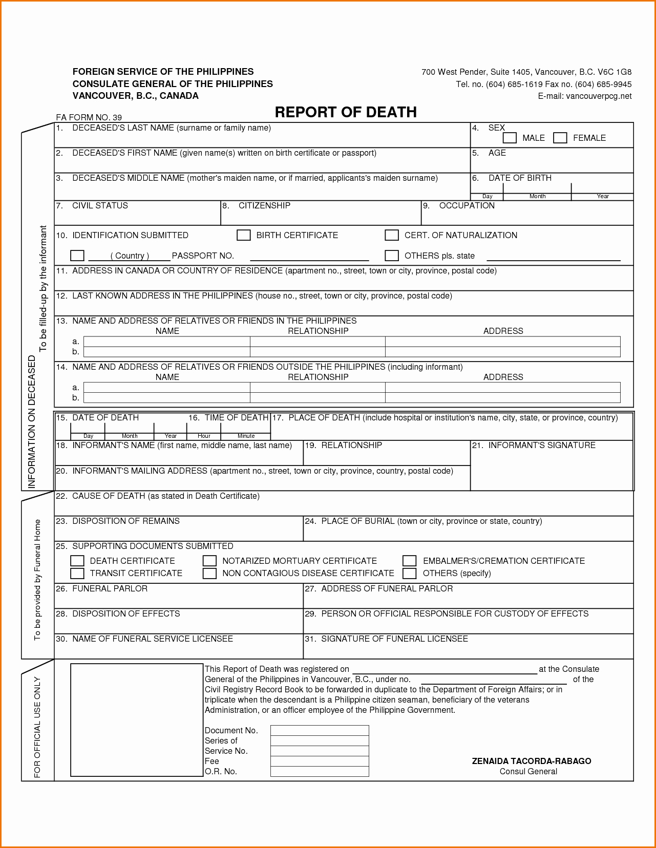 Free Death Certificate Template Awesome Death Certificate Template Word Portablegasgrillweber