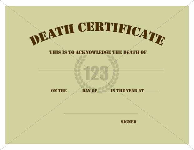 Free Death Certificate Template Awesome Free Download Of Death Certificate Templates