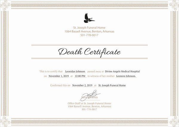Free Death Certificate Template Best Of 9 Death Certificate Template – Free Sample Example