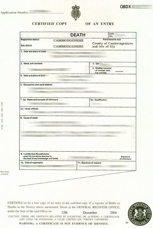 Free Death Certificate Template Elegant Death Certificate Uk