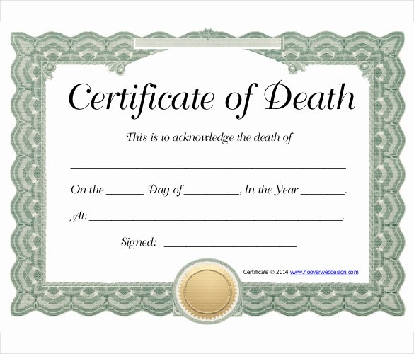 Free Death Certificate Template Fresh 13 Sample Death Certificate Templates Pdf Doc