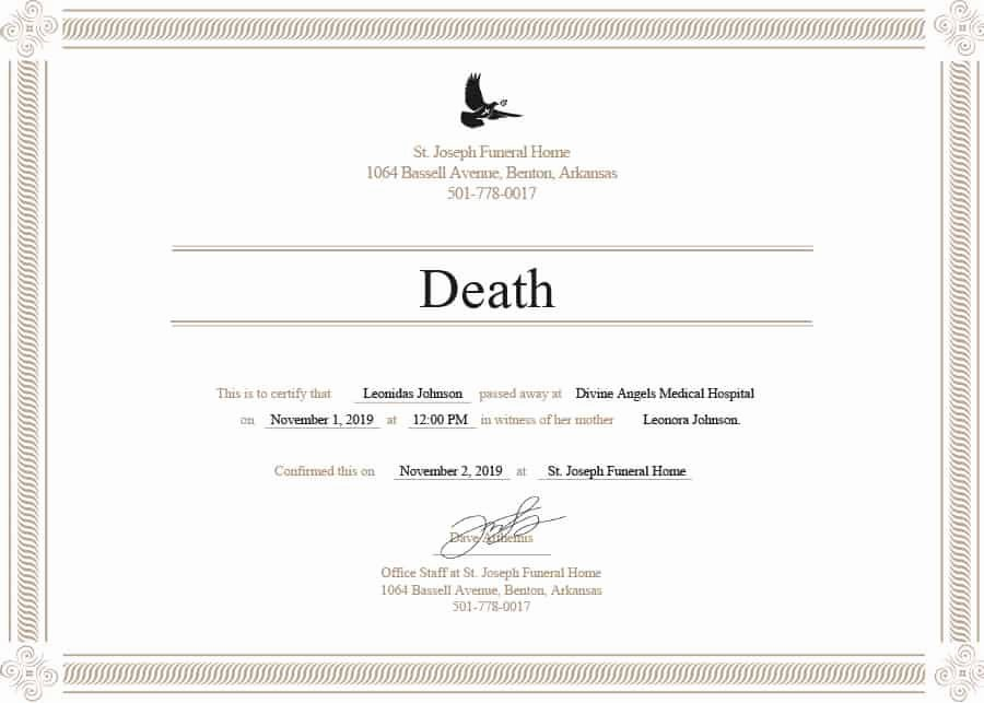 Free Death Certificate Template Inspirational 37 Blank Death Certificate Templates [ Free