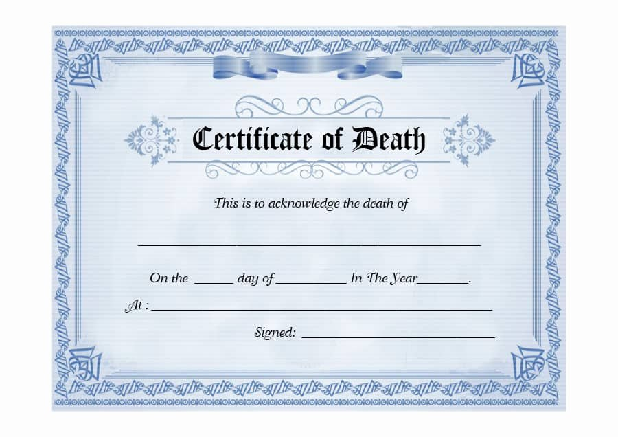 Free Death Certificate Template Lovely 37 Blank Death Certificate Templates [ Free