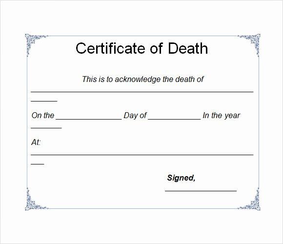 Free Death Certificate Template Luxury 8 Useful Sample Death Certificate Templates to Download