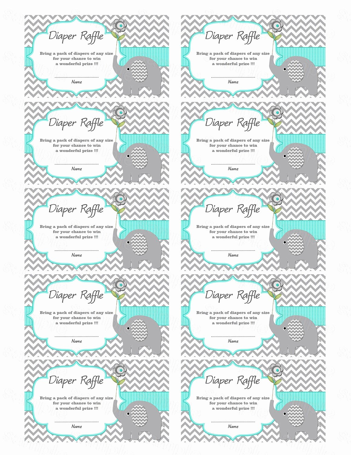 Free Diaper Raffle Template Awesome Elephant Baby Shower Diaper Raffle Ticket Diaper Raffle Card