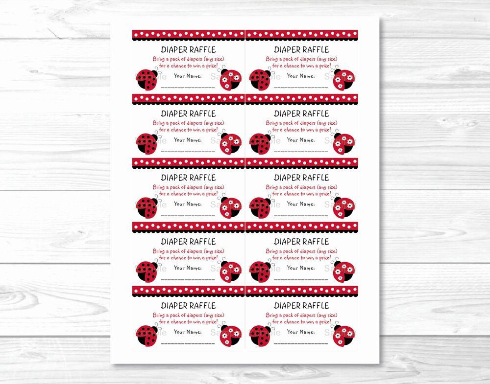 Free Diaper Raffle Template Inspirational Little Red Ladybug Printable Baby Shower Diaper Raffle