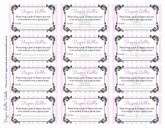 Free Diaper Raffle Template Luxury Free Printable Baby Shower Raffle Tickets Template