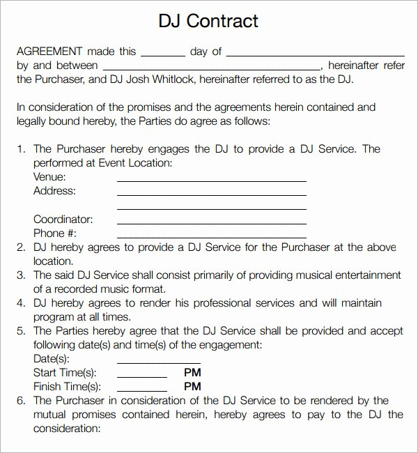 Free Dj Contract Template Awesome 16 Sample Best Dj Contract Templates to Download