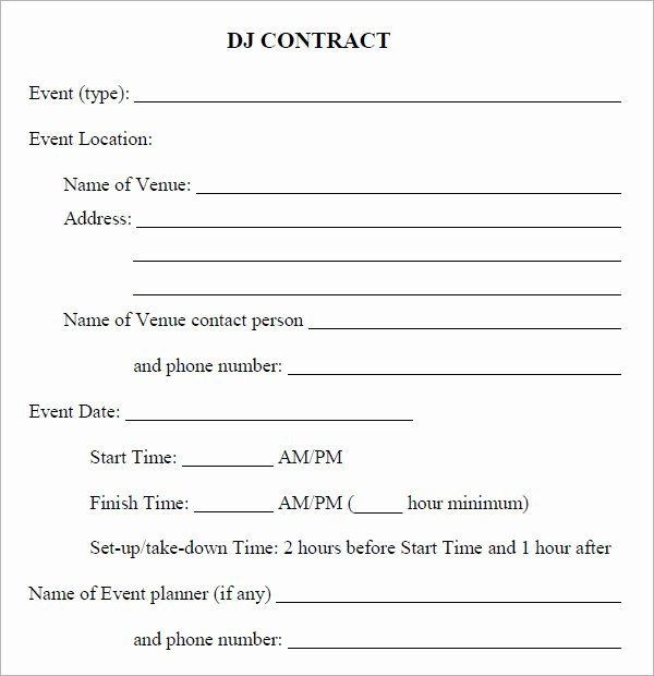 Free Dj Contract Template Best Of Dj Contract 12 Download Documents In Pdf
