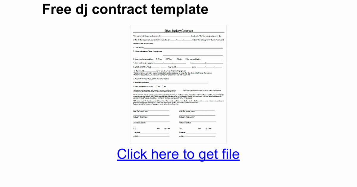Free Dj Contract Template Best Of Free Dj Contract Template Google Docs