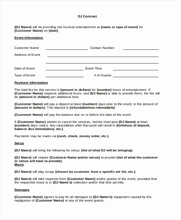 Free Dj Contract Template Elegant Sample Dj Contract form 8 Free Documents In Pdf Doc