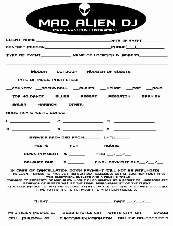Free Dj Contract Template Inspirational Template Dj Contract Template