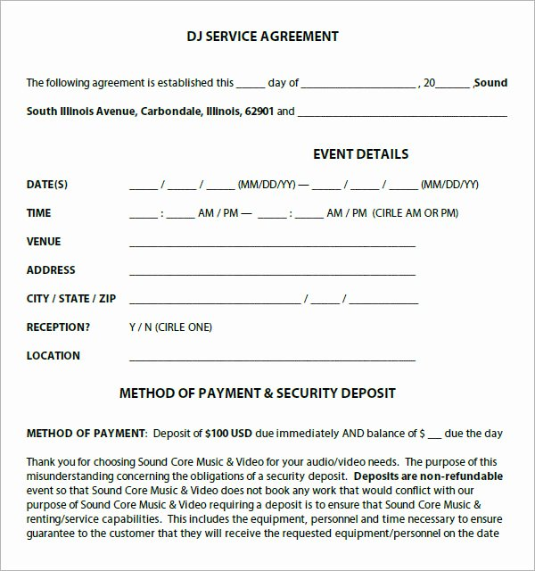 Free Dj Contract Template Lovely Dj Contract 12 Download Documents In Pdf