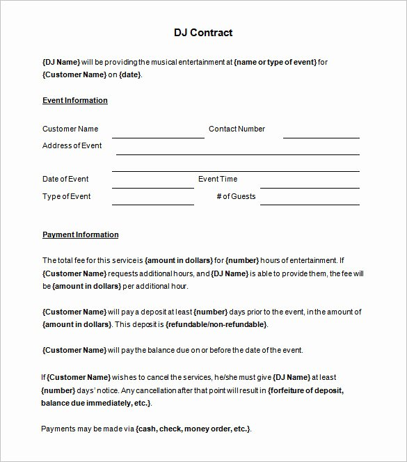 Free Dj Contract Template New 14 Dj Contract Templates Pdf Google Docs Apple Pages