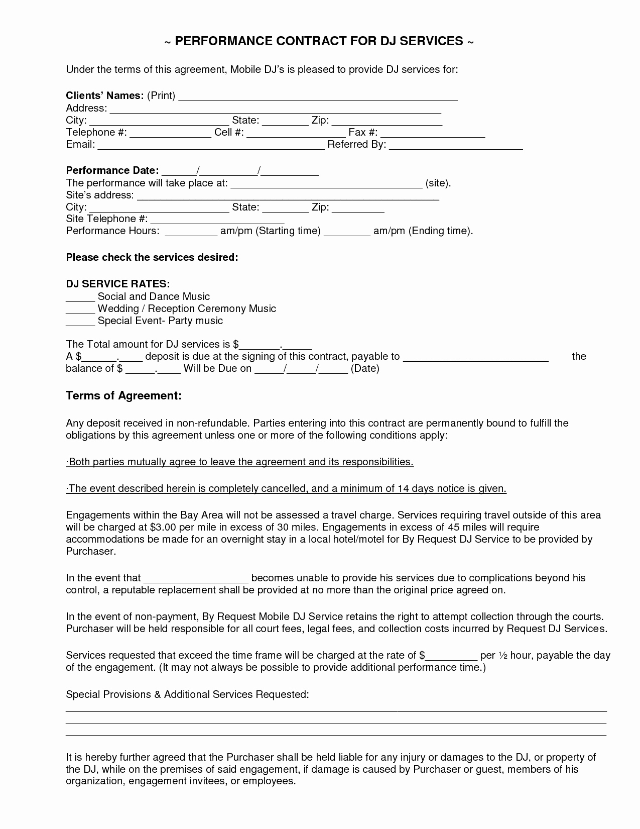 Free Dj Contract Template Unique Mobile Dj Contract