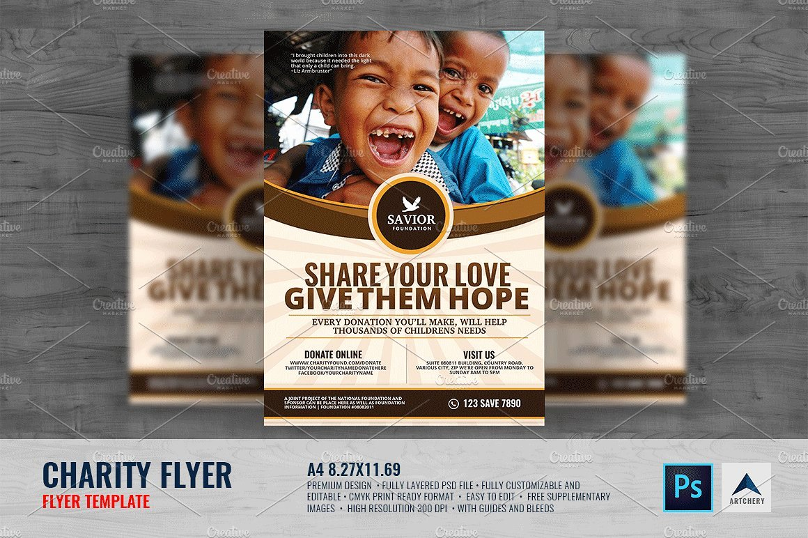 Free Donation Flyer Template New Charity Flyer Template Flyer Templates Creative Market