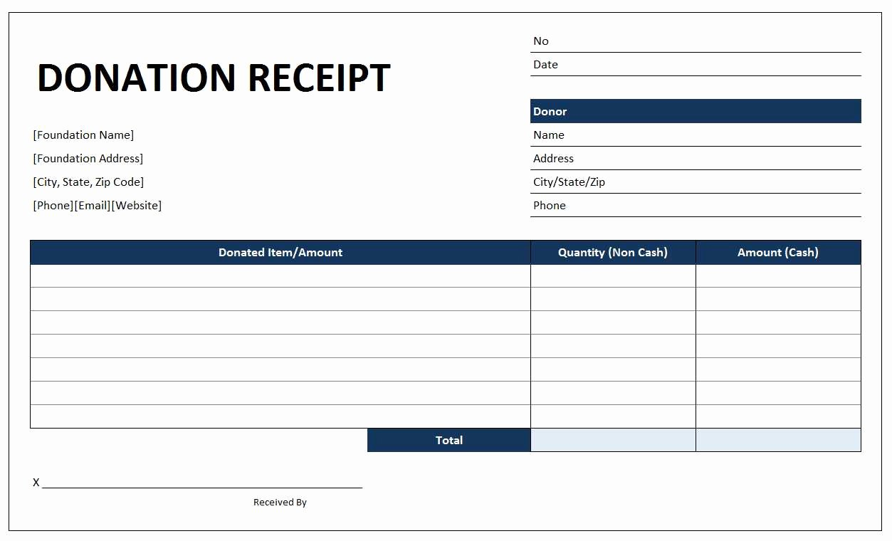 Free Donation Receipt Template Awesome Donation Receipt Template Free Excel Templates and