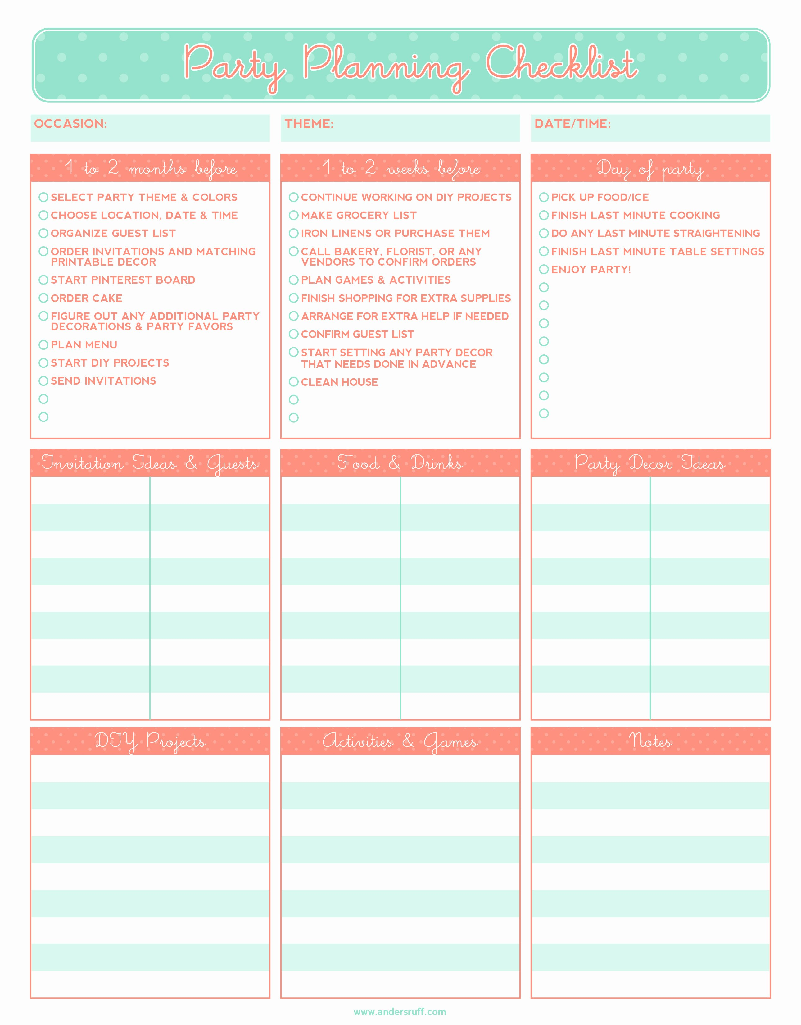 Free event Plan Template Awesome 5 Party Planning Templates Excel Xlts