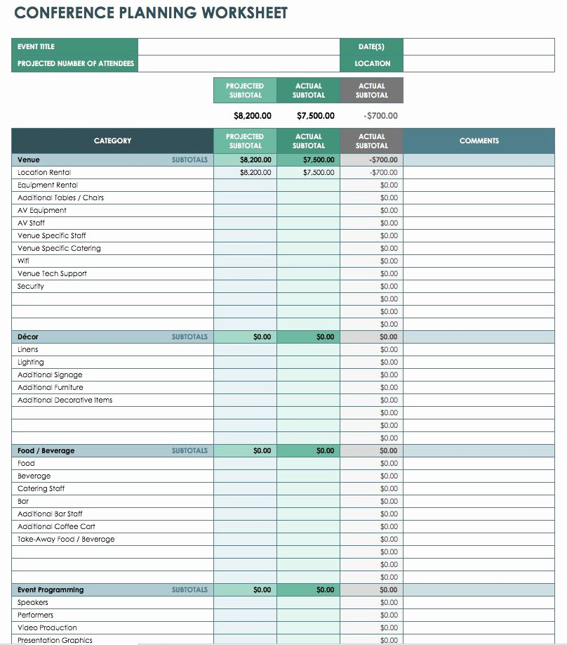 Free event Plan Template Awesome Free event Bud Templates Smartsheet