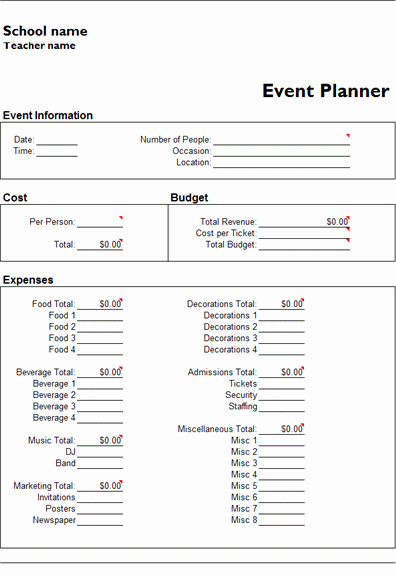 ms excel event planner template