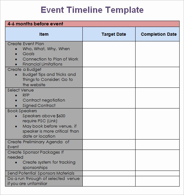 Free event Plan Template Lovely 8 event Timeline Templates Free Sample Example format
