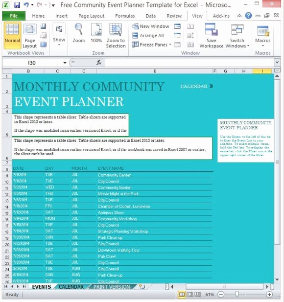Free event Plan Template New Free Munity event Planner Template for Excel