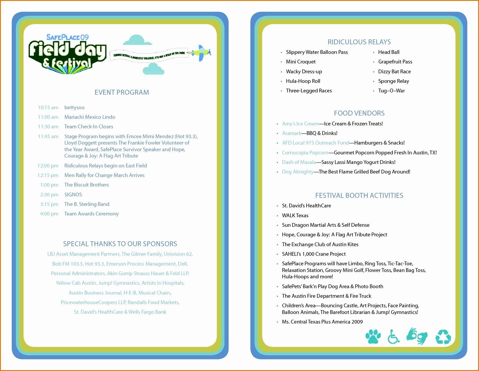 Free event Program Template Inspirational Printable event Program Template