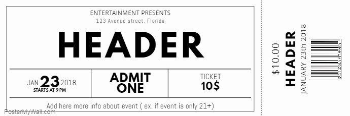 Free event Ticket Template Elegant Black and White Free Concert event Ticket Template